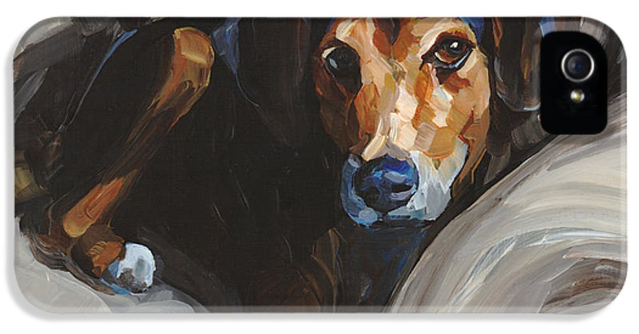 Black Dog IPhone 5 Case featuring the painting Jack by Annie Salness