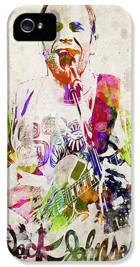 Jack Johnson IPhone 5 Case featuring the digital art Jack Johnson Portrait by Aged Pixel