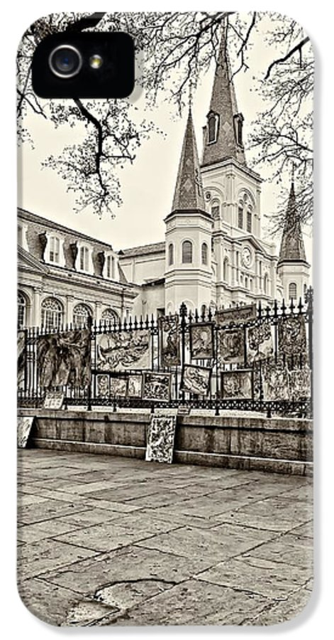French Quarter IPhone 5 Case featuring the photograph Jackson Square Winter Sepia by Steve Harrington