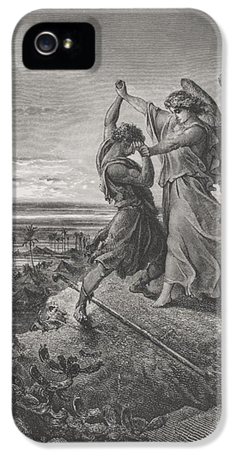 Wrestle IPhone 5 Case featuring the painting Jacob Wrestling With The Angel by Gustave Dore