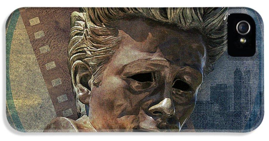 Digital IPhone 5 Case featuring the digital art James Dean by Peter Awax