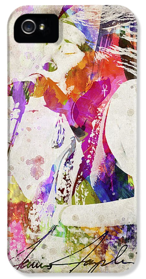 Janis Joplin IPhone 5 Case featuring the digital art Janis Joplin Portrait by Aged Pixel