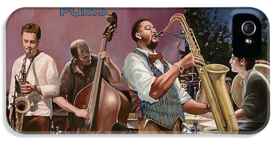 Jazz IPhone 5 Case featuring the painting jazz festival in Paris by Guido Borelli