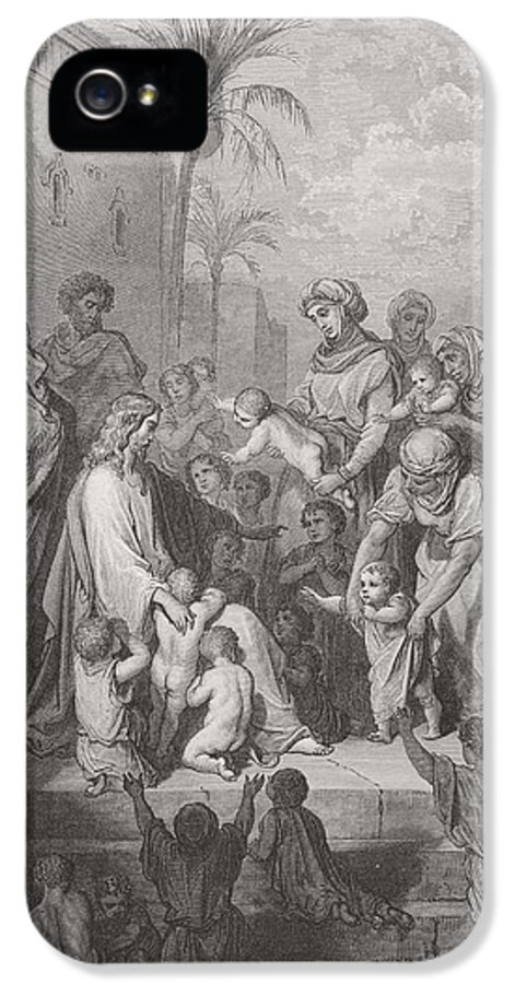 Child IPhone 5 Case featuring the painting Jesus Blessing The Children by Gustave Dore