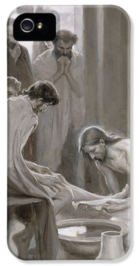 Disciple; Drying; Nordic; Cleaning; Jesus Christ; New Testament; Bible; Biblical Scene IPhone 5 Case featuring the painting Jesus Washing The Feet Of His Disciples by Albert Gustaf Aristides Edelfelt