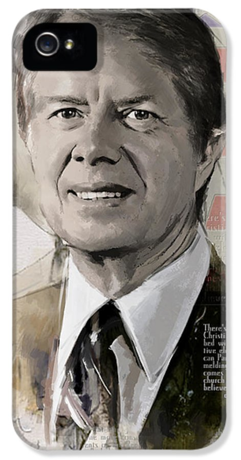 Jimmy Carter IPhone 5 Case featuring the painting Jimmy Carter by Corporate Art Task Force
