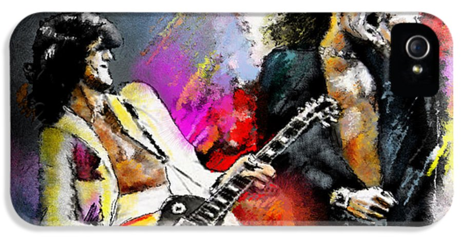 Musicians IPhone 5 Case featuring the painting Jimmy Page And Robert Plant Led Zeppelin by Miki De Goodaboom