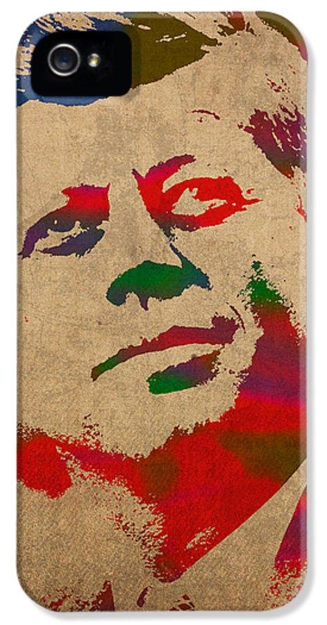 John F Kennedy President Jfk Watercolor Portrait On Worn Distressed Canvas IPhone 5 Case featuring the mixed media John F Kennedy Jfk Watercolor Portrait On Worn Distressed Canvas by Design Turnpike