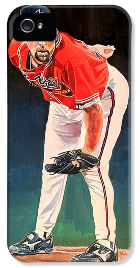 Atlanta Braves IPhone 5 Case featuring the painting John Smoltz - Atlanta Braves by Michael Pattison