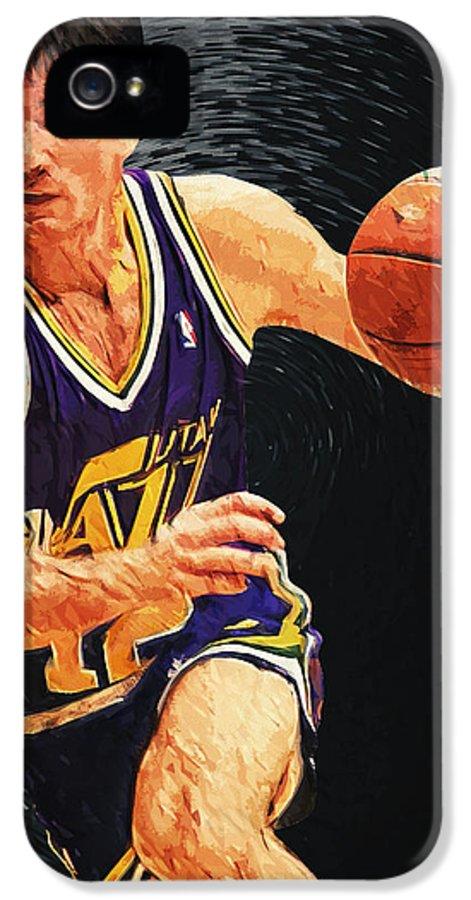 John Stockton IPhone 5 Case featuring the digital art John Stockton by Taylan Apukovska