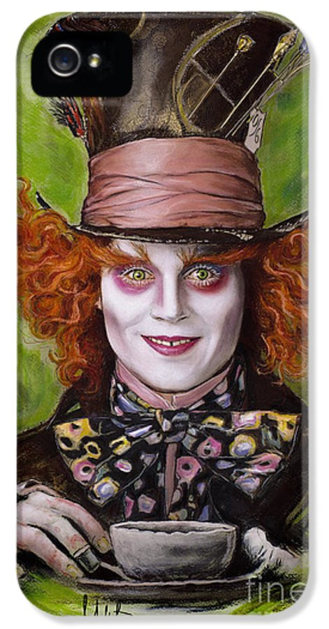 Johnny Depp IPhone 5 Case featuring the drawing Johnny Depp As Mad Hatter by Melanie D