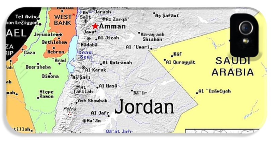 Jordan IPhone 5 / 5s Case featuring the mixed media Jordan Exotic Map by Florene Welebny