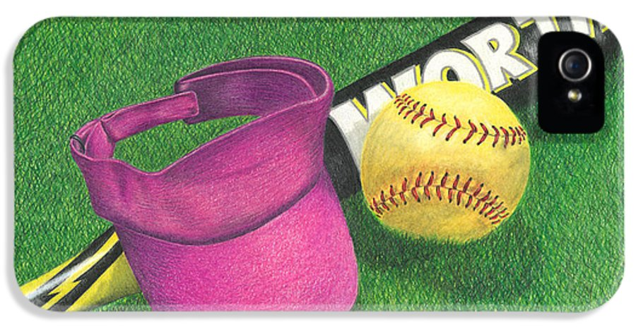 Softball IPhone 5 Case featuring the drawing Julia's Game by Troy Levesque