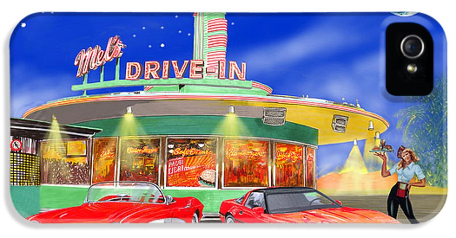 A Pair Of Red Corvettes Painted By Jack Pumphrey Parked At The next Generation Mel's Drive-in IPhone 5 Case featuring the painting Julies Corvettes by Jack Pumphrey