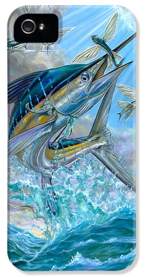White Marlin IPhone 5 Case featuring the painting Jumping White Marlin And Flying Fish by Terry Fox