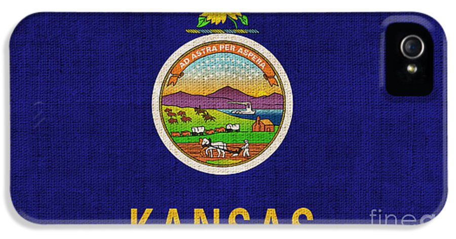 Kansas IPhone 5 Case featuring the painting Kansas State Flag by Pixel Chimp