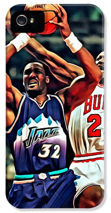 Nba IPhone 5 Case featuring the painting Karl Malone Vs. Michael Jordan by Florian Rodarte