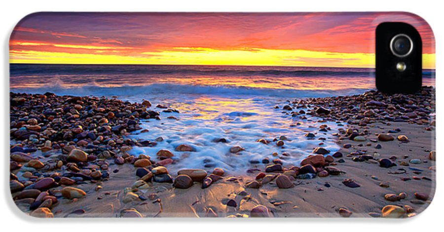 Sunset Pebbles Stones Beach Seascape Seascapes Karrara Hallett Cove Adelaide South Australia Australian IPhone 5 Case featuring the photograph Karrara Sunset by Bill Robinson