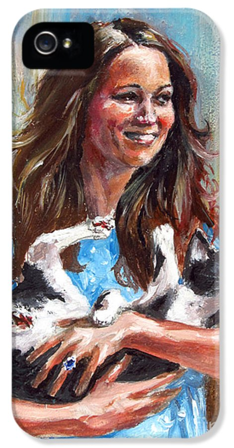 Funny IPhone 5 Case featuring the painting Kate Middleton Duchess Of Cambridge And Her Royal Baby Cat by Daniel Cristian Chiriac