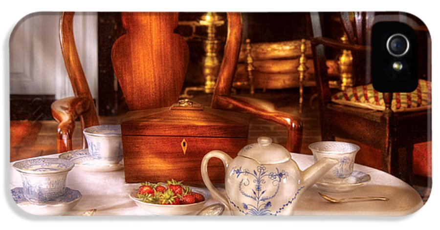 Savad IPhone 5 Case featuring the photograph Kettle - Have Some Tea - Chinese Tea Set by Mike Savad