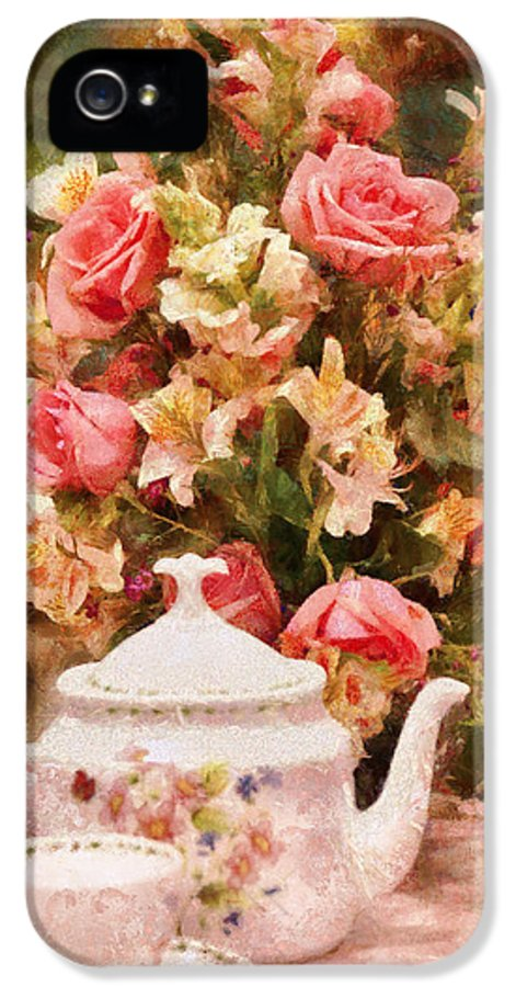 Suburbanscenes IPhone 5 Case featuring the digital art Kettle - More Tea Milady by Mike Savad