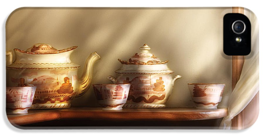 Savad IPhone 5 Case featuring the photograph Kettle - My Grandmother's Chinese Tea Set by Mike Savad