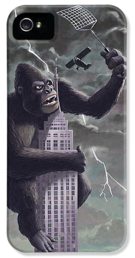 Kong IPhone 5 Case featuring the painting King Kong Plane Swatter by Martin Davey