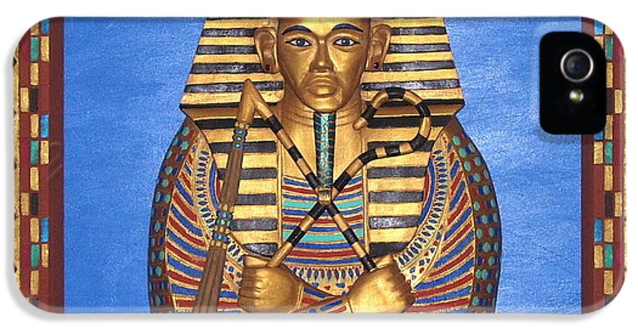 Sculpture IPhone 5 Case featuring the mixed media King Tut - Handcarved by Michael Pasko