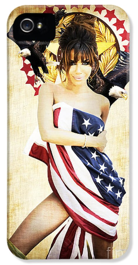 Digital IPhone 5 Case featuring the mixed media La Americana by D H Carter