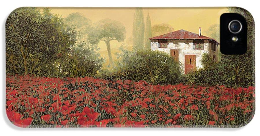 Summer IPhone 5 Case featuring the painting La Casa E I Papaveri by Guido Borelli