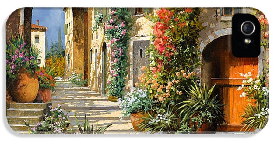 Landscape IPhone 5 Case featuring the painting La Porta Rossa Sulla Salita by Guido Borelli
