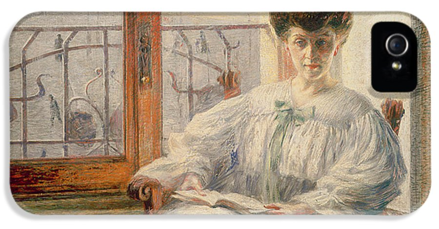 Balcony IPhone 5 Case featuring the painting La Signora Massimino by Umberto Boccioni