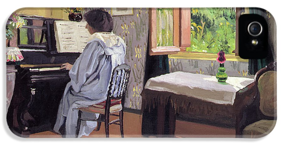 Interior IPhone 5 Case featuring the painting Lady At The Piano by Felix Edouard Vallotton