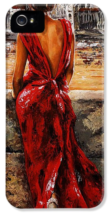 Lady IPhone 5 / 5s Case featuring the painting Lady In Red 34 - I Love Budapest by Emerico Imre Toth