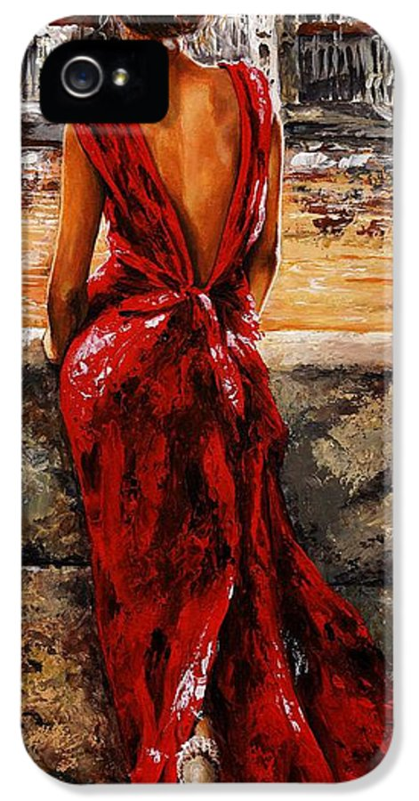 Lady IPhone 5 Case featuring the painting Lady In Red 34 - I Love Budapest by Emerico Imre Toth