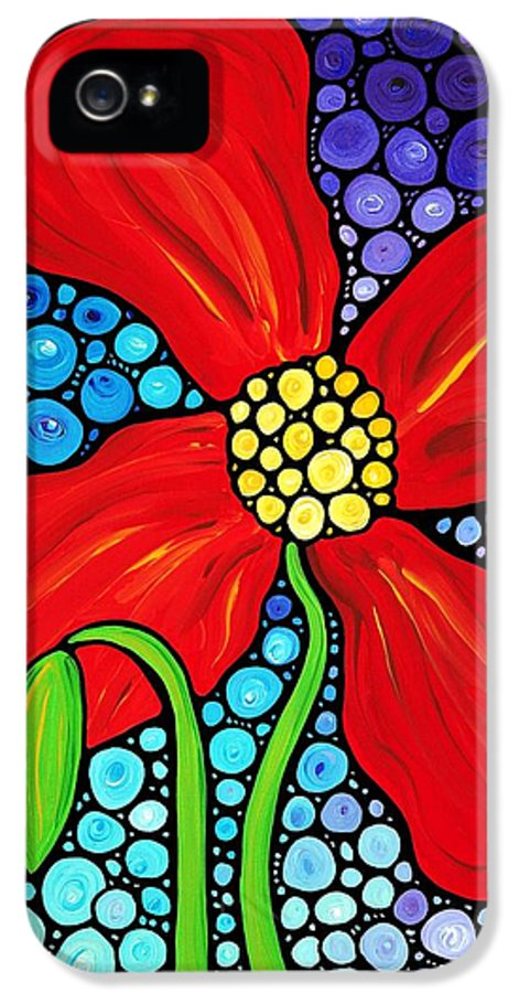 Poppy IPhone 5 Case featuring the painting Lady In Red - Poppy Flower Art By Sharon Cummings by Sharon Cummings
