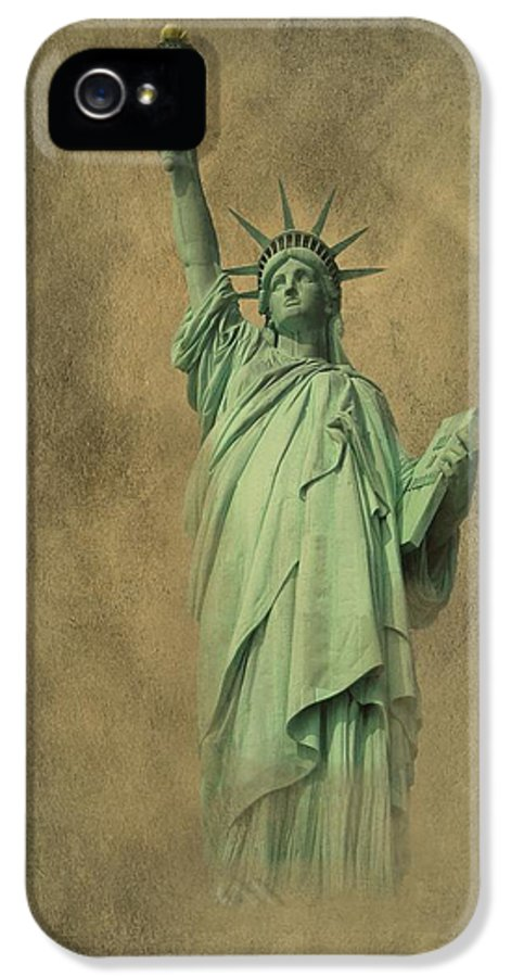 New York IPhone 5 Case featuring the photograph Lady Liberty New York Harbor by David Dehner