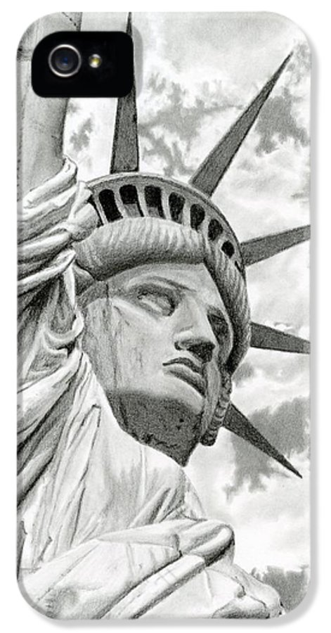 Statue Of Liberty IPhone 5 Case featuring the drawing Lady Liberty by Sarah Batalka