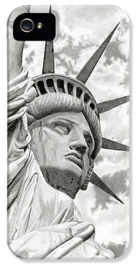 Statue Of Liberty IPhone 5 / 5s Case featuring the drawing Lady Liberty by Sarah Batalka
