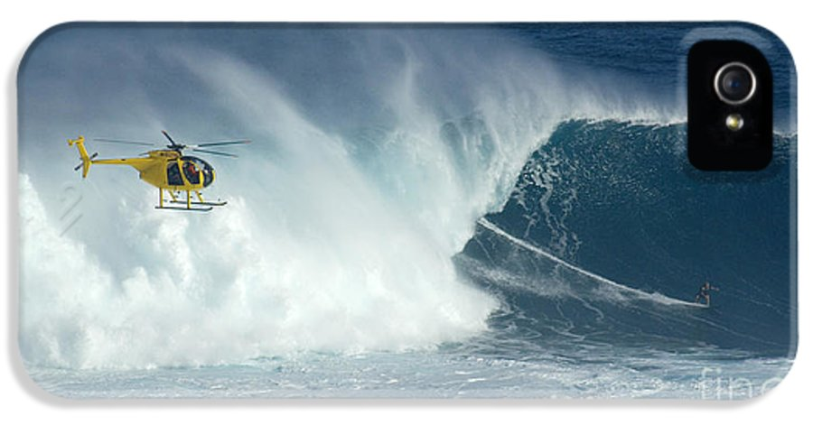 Laird Hamilton IPhone 5 Case featuring the photograph Laird Hamilton Going Left At Jaws by Bob Christopher