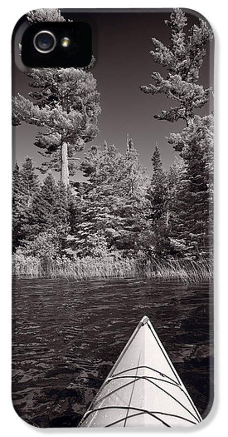 Kayak IPhone 5 Case featuring the photograph Lake Kayaking Bw by Steve Gadomski