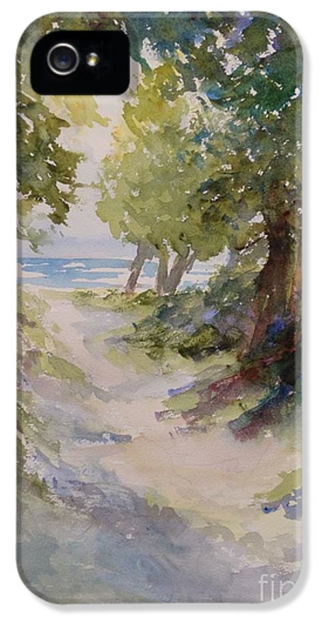 Seascape IPhone 5 Case featuring the painting Lake Michigan Beach Path by Sandra Strohschein