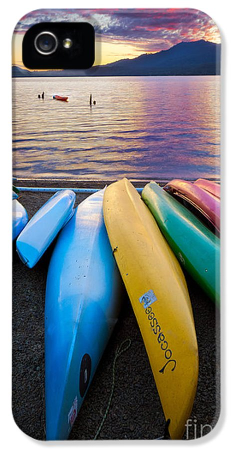 America IPhone 5 Case featuring the photograph Lake Quinault Kayaks by Inge Johnsson