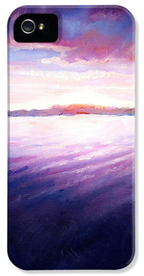 Lake IPhone 5 Case featuring the painting Lakeside Sunset by Shana Rowe Jackson