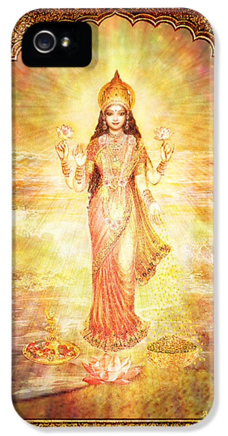 Goddess Painting IPhone 5 Case featuring the mixed media Lakshmi The Goddess Of Fortune And Abundance by Ananda Vdovic
