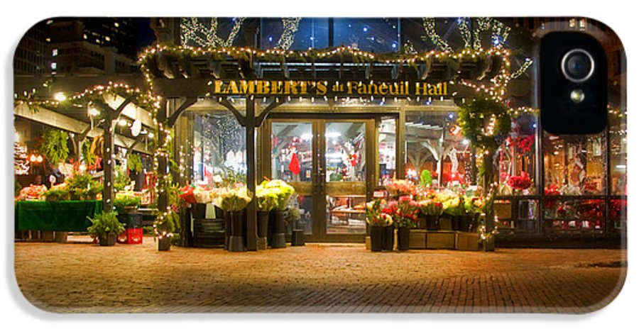 Quincy Market IPhone 5 Case featuring the photograph Lambert's At Faneuil Hall by Joann Vitali