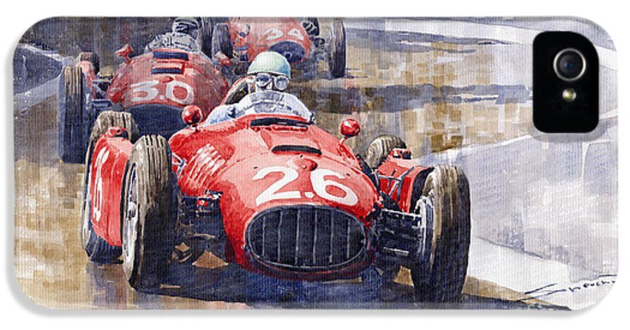 Watercolour IPhone 5 Case featuring the painting Lancia D50 Monaco Gp 1955 by Yuriy Shevchuk