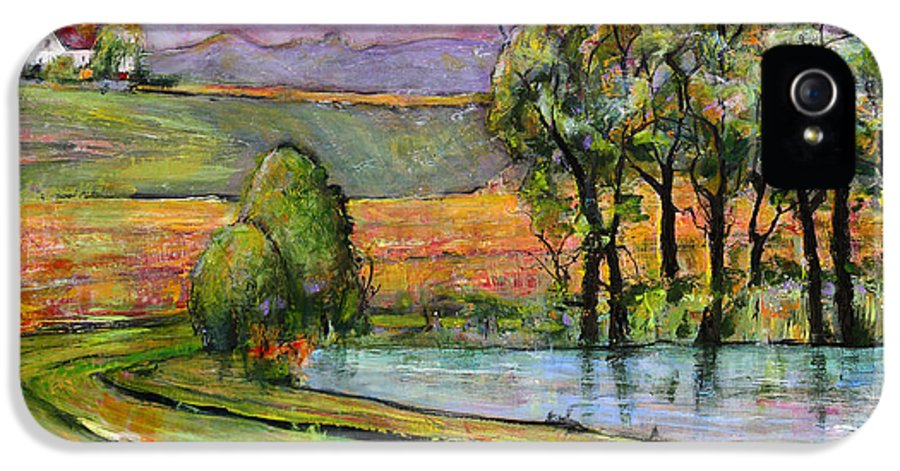 Landscape Art IPhone 5 Case featuring the painting Landscape Art Scenic Fields by Blenda Studio