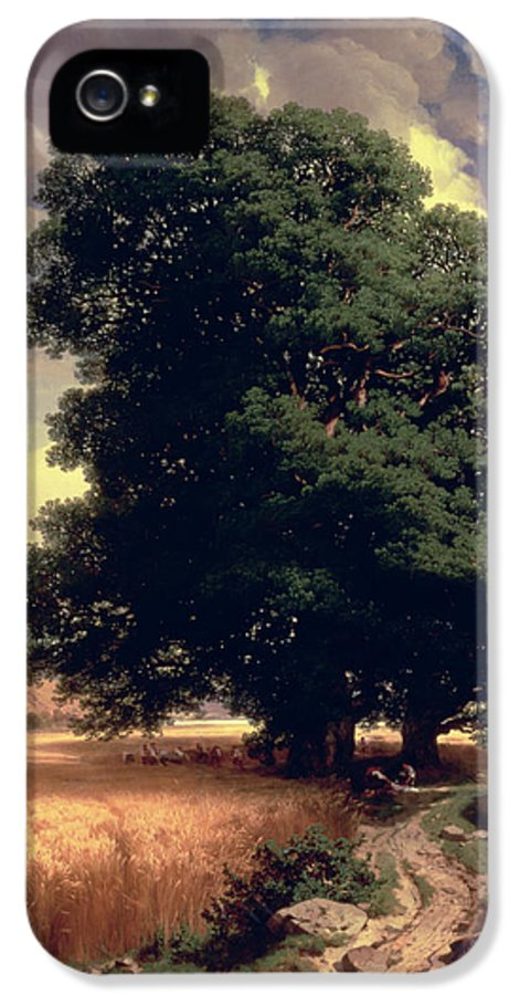 Trees IPhone 5 Case featuring the painting Landscape With Oaks by Alexandre Calame