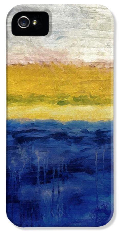 Oceanside IPhone 5 / 5s Case featuring the painting Lapis And Gold Get Married by Michelle Calkins